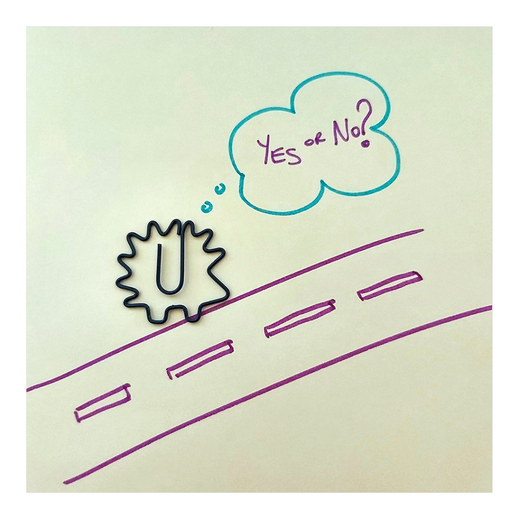 Doodle of a hedgehog paper clip deciding to cross the road. Visual metaphor for making decisions
