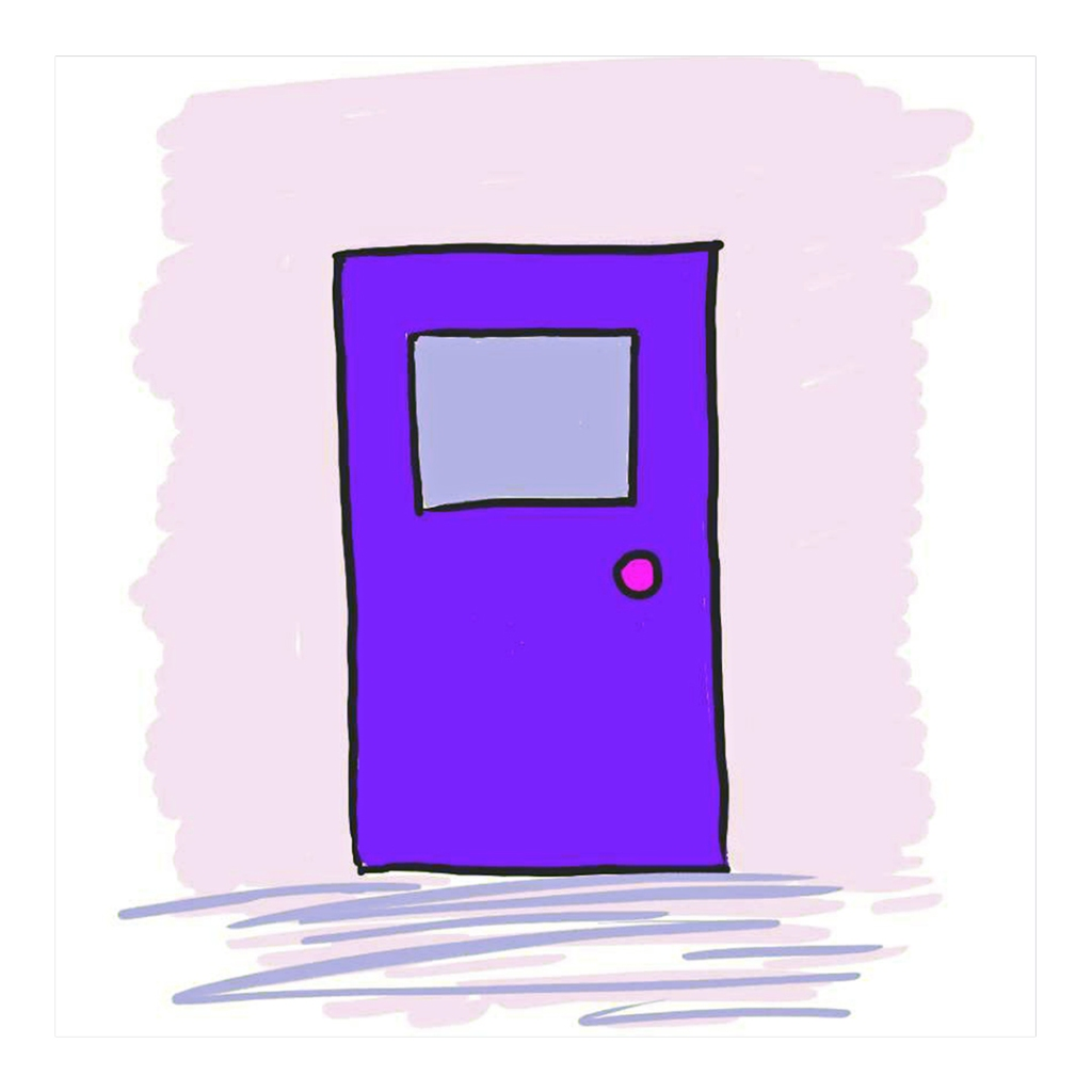 "Drawing of a door for Milton Berle quote, ""If opportunity doesn't knock build a door"""